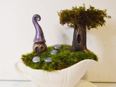 DIY Gravy Boat Fairy Garden With Polymer Clay