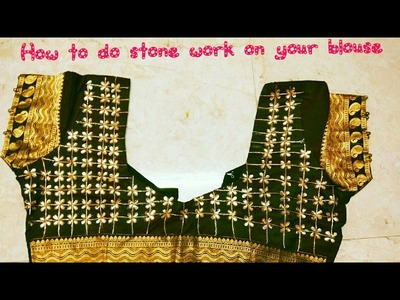 DIY:How to do stone work on your blouse at home without any Stiching-8