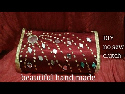 DIY how to make beautiful no sew clutch with waste materials कैसे बनाये पार्टी वाला बटुआ