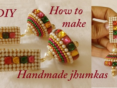 DIY || how to make Designer Bridal Jhumka earrings at home || paper earrings || tutorials
