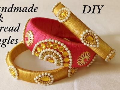 DIY || How to make designer silk thread bridal bangles at home || DIY tutorial