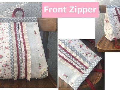 DIY リュックサック 作り方 Back pack mochila zaino tutorial Front Zipper