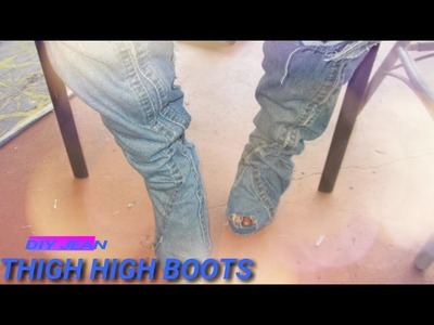 DIY JEAN THIGH HIGH BOOTS   EASY HOW TO TUTORIAL  