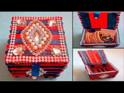 DIY JEWELLERY BOX   MULTIPURPOSE STORAGE BOX   Popsicle stick Craft