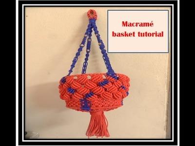 DIY MACRAME HANGING BASKET| How To make Macrame basket Step By Step complete  tutorial