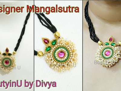 DIY|Mangalsutra|How to make Designer Black bead Chain at Home|Silk Thread Necklace|Tutorial