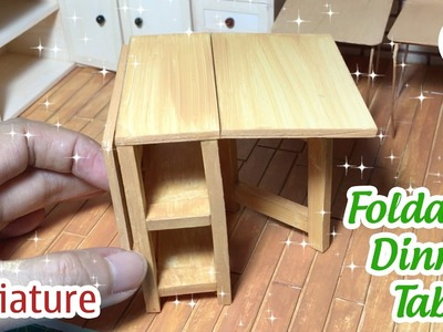 DIY Miniature Foldable Dinner Table | How to make Foldable Dinner Tablle for Dollhouse