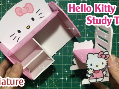 DIY Miniature Hello Kitty Study Table | How to make Hello Kitty Table for Dollhouse