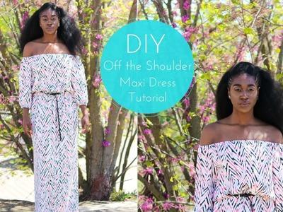 DIY Off the Shoulder Maxi Dress Tutorial
