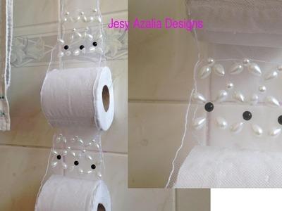 DIY Pearl beaded tissue holder.Toilet decor idea.