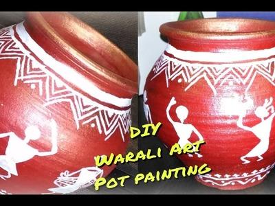 DIY Pot Painting   Warli Art   Step By Step Tutorial