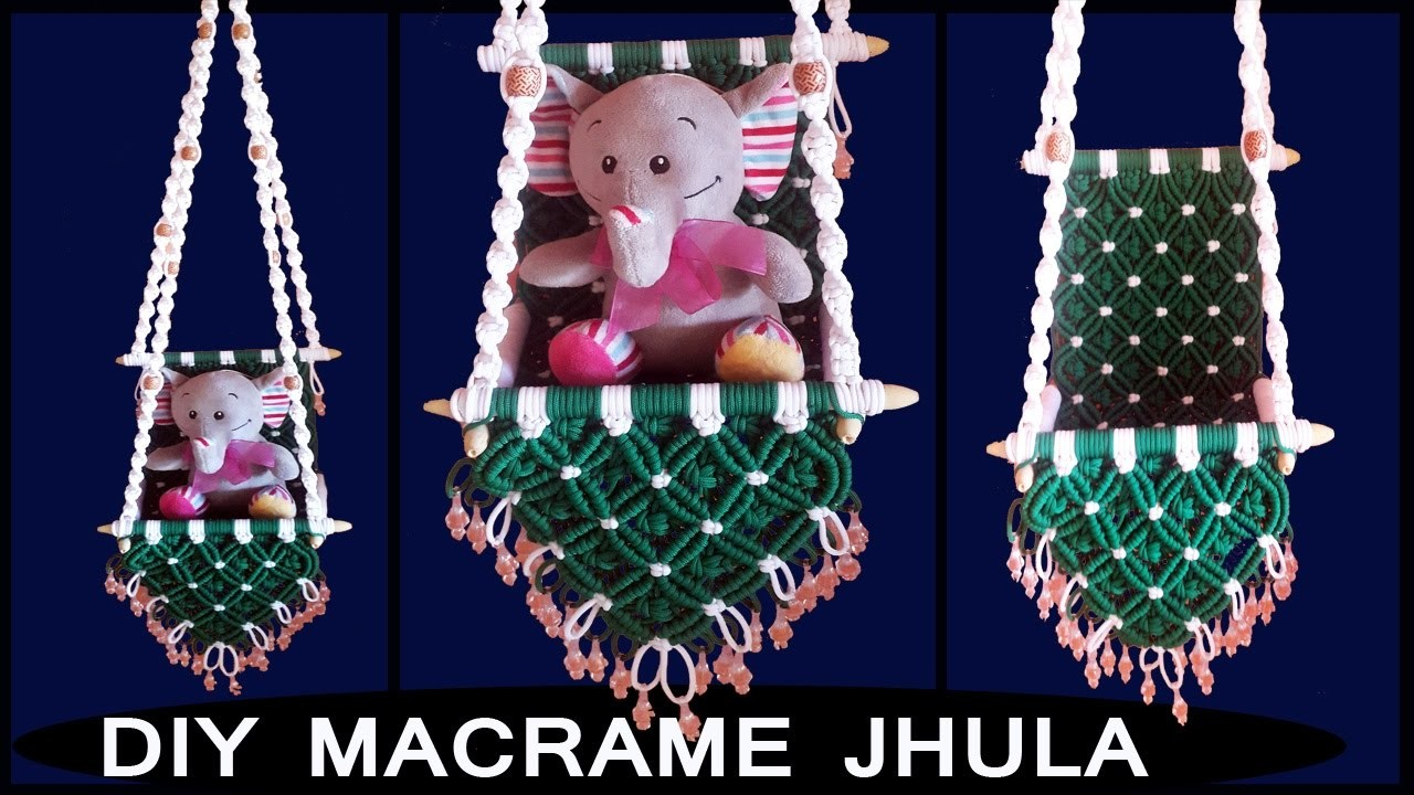 Diy simple macrame jhula wall hanging macrame wall art for How to make jhula at home