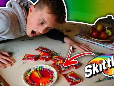DIY SKITTLES RAINBOW MAGIC TRICK!! (How To Make a SKITTLES RAINBOW!)
