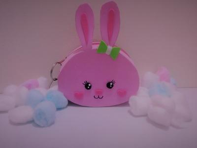 Easter Bunny, DIY foam bunny purse, DIY foam purse, DIY foam coin purse. Kawaii bunny purse