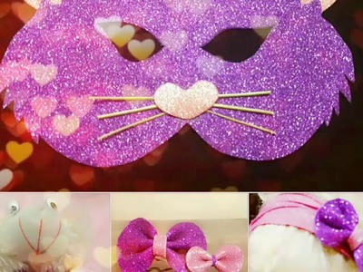Easy craft with glittered sheets. DIY: cat mask n hair clip