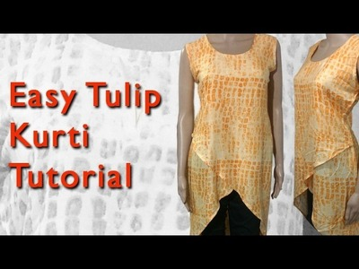 Easy Tulip Kurti cutting pattern and stitching DIY tutorial (Part2)