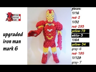 HOW TO MAKE 3D ORIGAMI IRON MAN REMAKE  TUTORIAL    DIY 3D ORIGAMI IRON MAN TUTORIAL