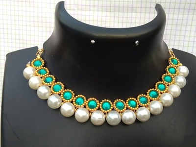 How To Make Bridal Necklace. Designer Pearls  Necklace. DIY. Chokar. Home Made Tutorial