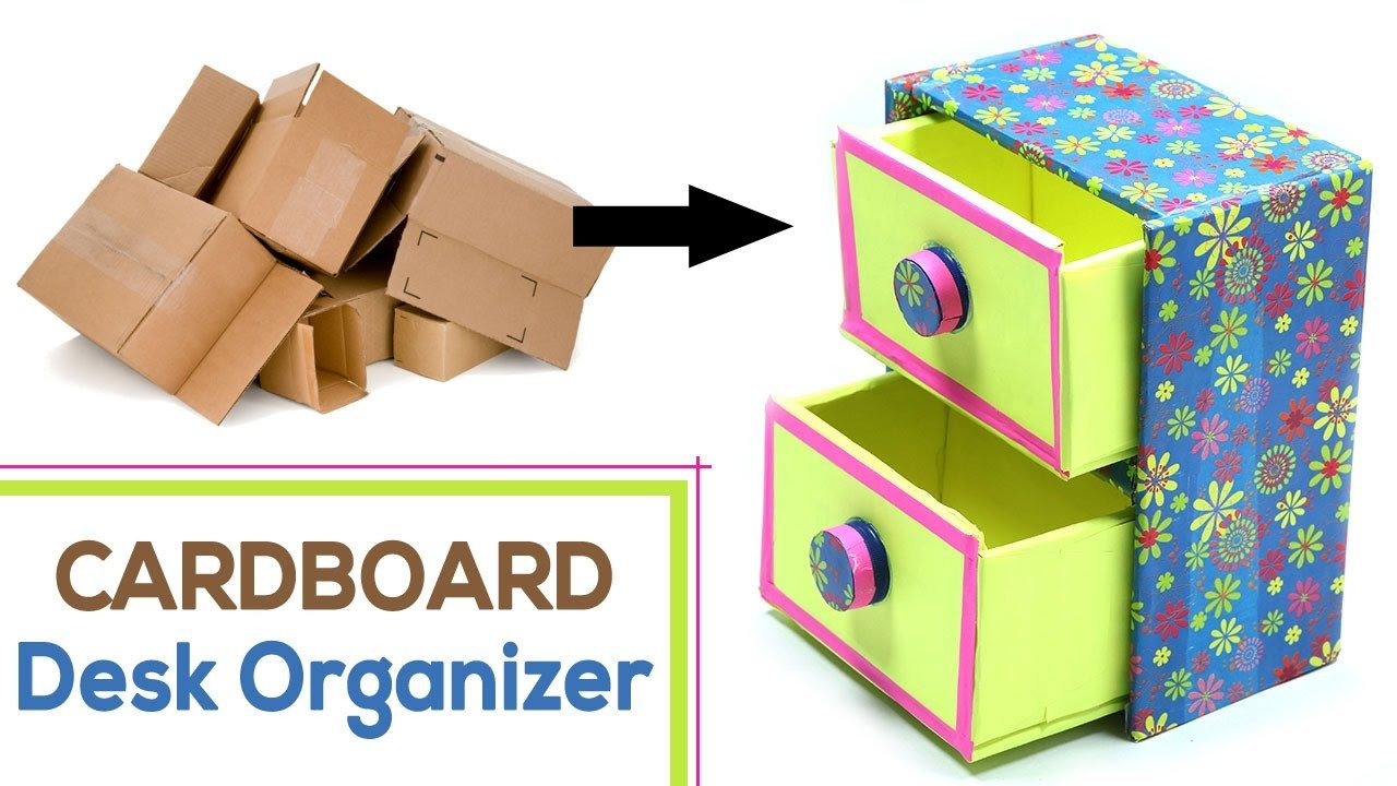 How to make diy desk organizer with waste cardboard craft for Making things out of waste
