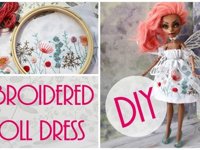 How to Make Doll Dress Easy. DIY Craft Tutorial. Monster High, Barbie, EAH Dolls. Embroidery