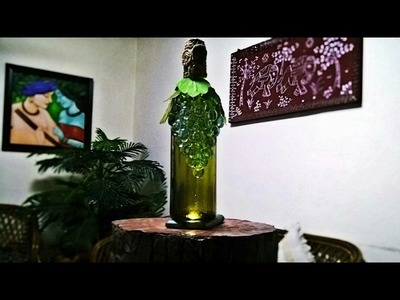 How to make marble-ous wine bottle showpiece. easy craft