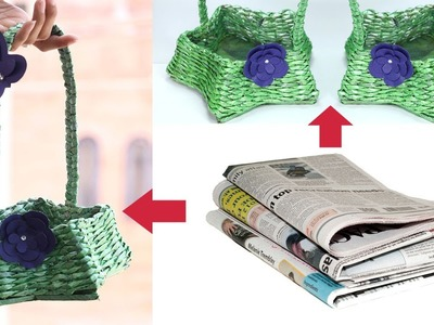 How to Make Newspaper Basket with Handle | Waste Material Craft Idea