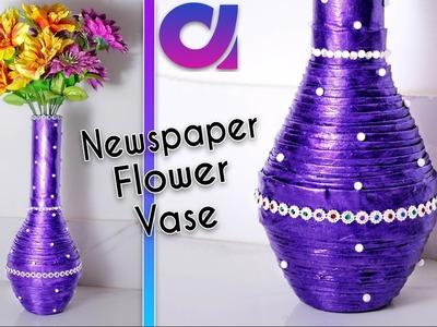 How to make newspaper flower vase | newspaper craft | Best out of waste | DIY | Artkala189
