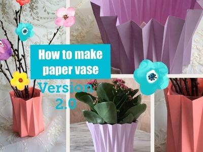 ???? How to make Paper vase. ???? DIY craft. Version2.0. Decoration ideas. Flower pot.