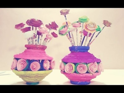 How to make pot from newspaper I DIY paper craft I ALL Art with Creativity