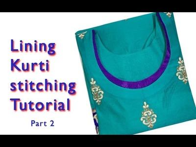 How to stitch lining kurti, New kurti neck design with Lining 2017 stitching tutorial DIY Part2