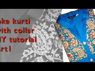 How to stitch Trendy Yoke  kurti with collar cutting and stitching DIY tutorial explained