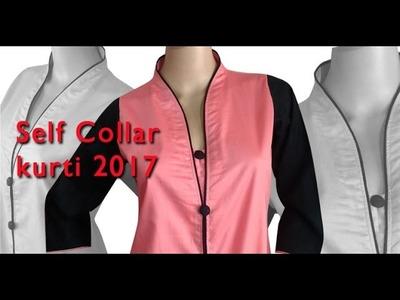 New self collar kurti 2017 DIY tutorial explained part2, high neck kurti,collar neck kurti
