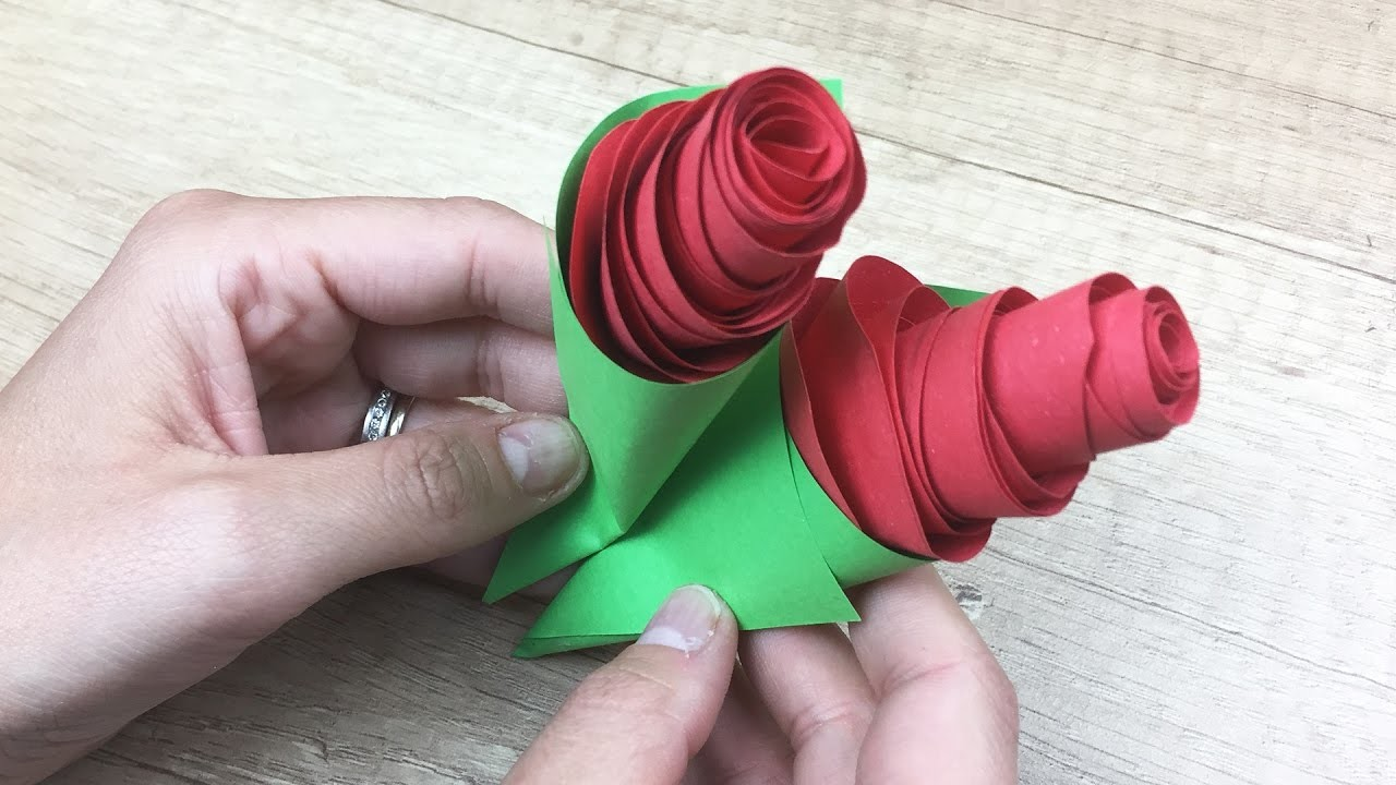 Paper Rose Craft for kids, nice gift for Mothers