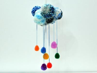 Pom Poms Rainbow Rain Cloud yarn wall decoration art craft diy tutorial kids play ideas fun carousel