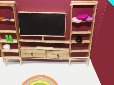 Popsicle Stick Craft | DIY Miniature Living Room | Dollhouse Ideas