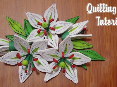 QUILLING LILY FLOWER TUTORIAL | DIY PAPER LILY FLOWER TUTORIAL
