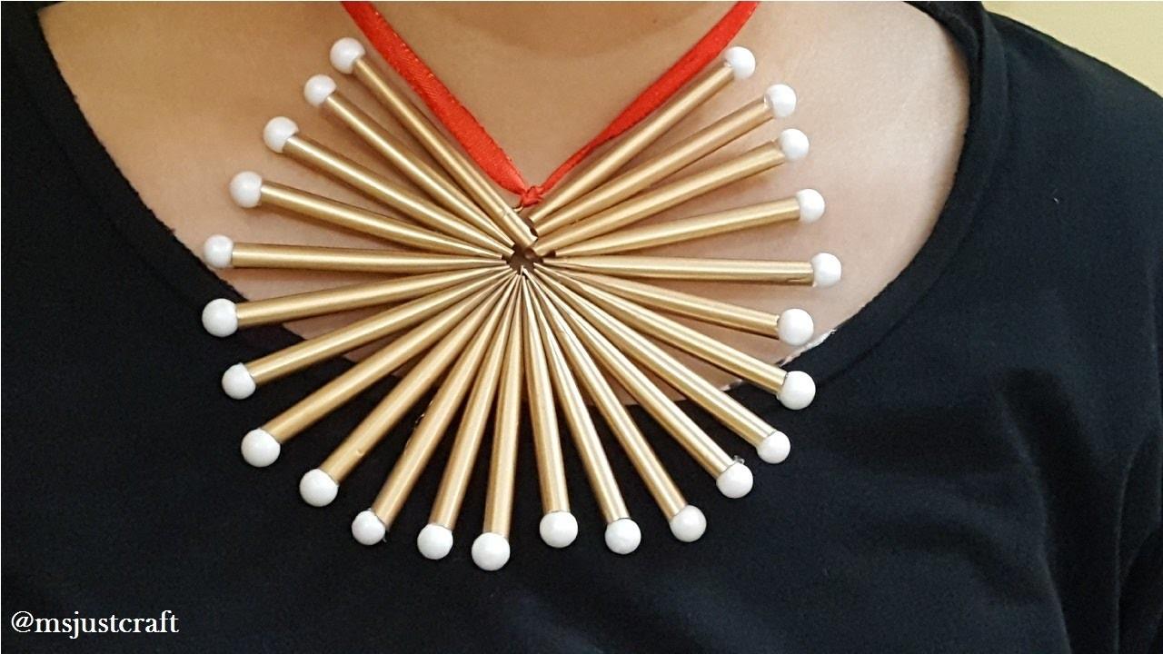 Straw Necklace | DIY | Just Craft | Easy