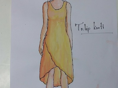 Tulip Kurti cutting pattern making sewing DIY tutorial explained (part1)
