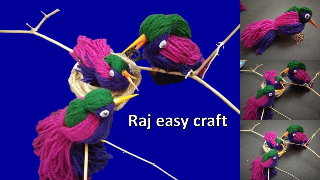 Wooly Birds | Diy Decor |easy craft | home Decor