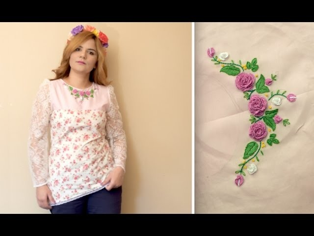 Brazilian Embroidery on Neckline.Do  Cast on stitch by hand. 3D Rose flower.