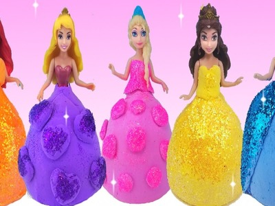 DIY Sparkle Disney Princess Dresses with New Morph Dough Doh Play Modelling Clay Kids Finger Family