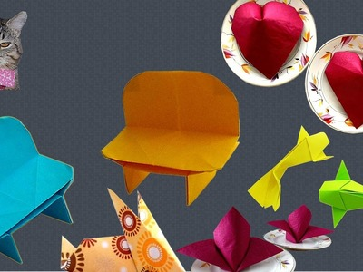 Easy origami. Origami napkins, envelopes, red cap, benches, fish, bunnies