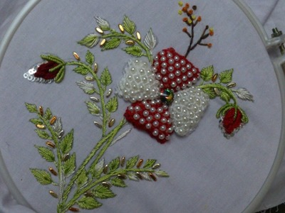 Hand embroidery designs. Beads padded lace stitch. Hand embroidery stitches tutorial.