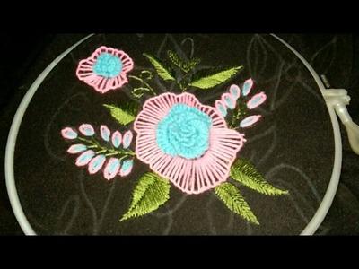 Hand embroidery raised fish bone, stem,lazy desy, Romanian, blanket, Caston and loose cast on stitch