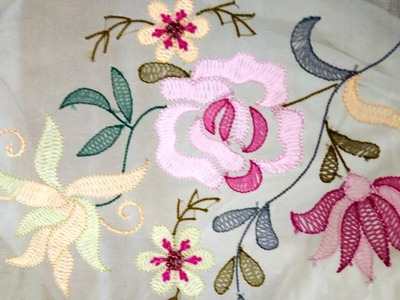Hand Embroidery : Shadow Embroidery Work With Silk Thread And French Knots