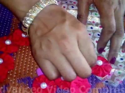 Hand made flower blouse neckline