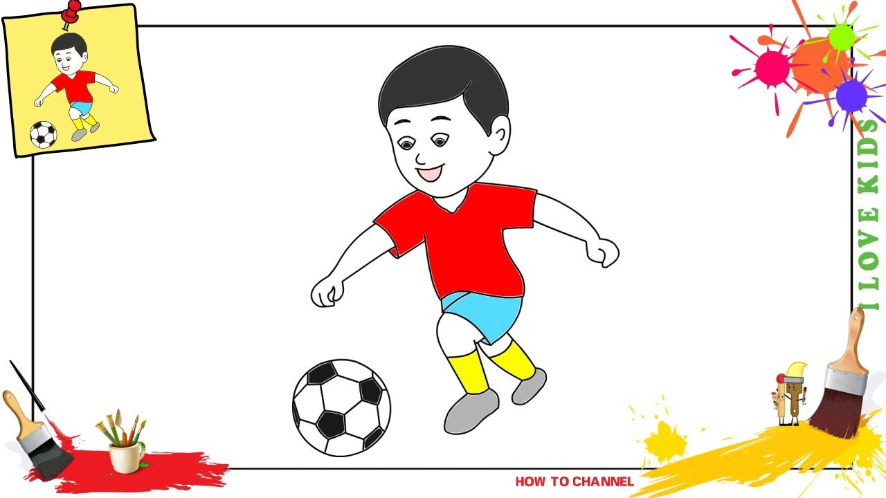 Football drawing for kids