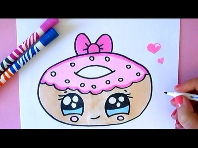 HOW TO DRAW A CARTOON DONUT CUTE AND EASY
