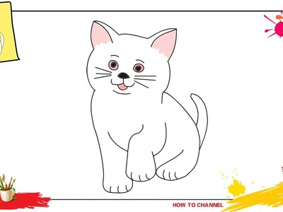 How to draw a cat 3 SIMPLE, EASY & SLOWLY step by step for kids