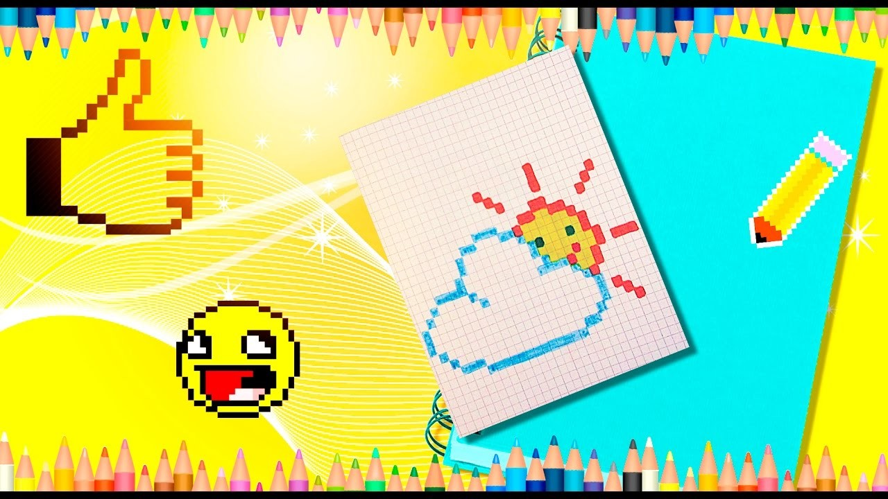 How to draw a cloud and the sun? Pixel sun and pixel cloud.